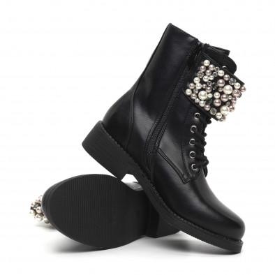 Дамски черни боти с перли и камъни. Размер 37 it260919-70-1 4