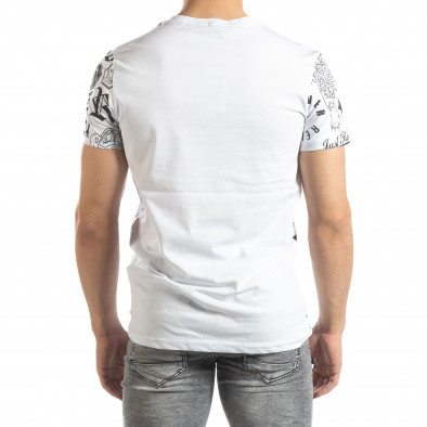 Мъжка бяла тениска със символи it150419-71 3