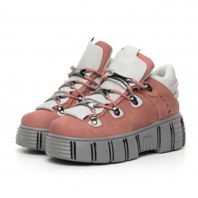 Дамски розови боти на платформа Trekking design it130819-72 3