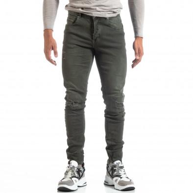 Slim fit мъжки зелени дънки с прокъсвания it170819-39 3