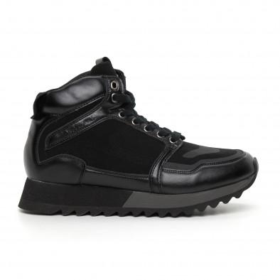 Мъжки високи спортни обувки в черно it130819-23 2