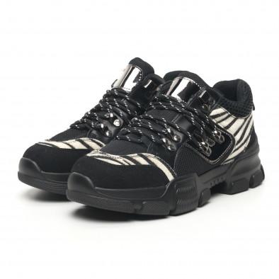 Дамски спортни обувки тип Hiker черно и зебра it281019-28 4