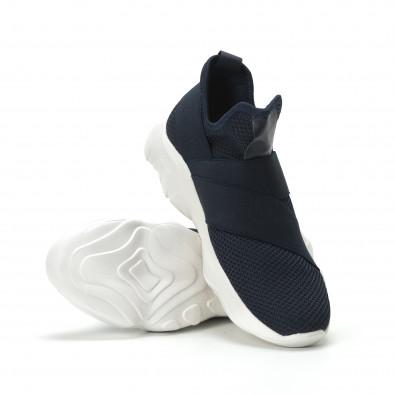 Slip-on мъжки маратонки син текстил с ластици  it250119-10 4