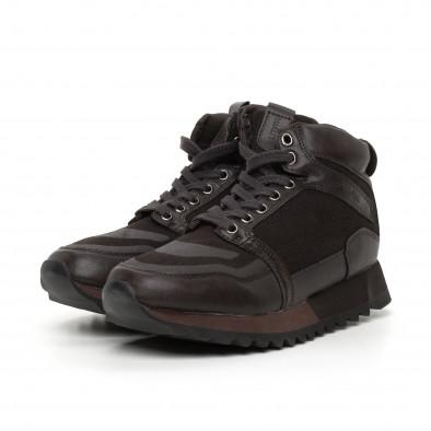 Мъжки високи спортни обувки в кафяво it130819-26 3