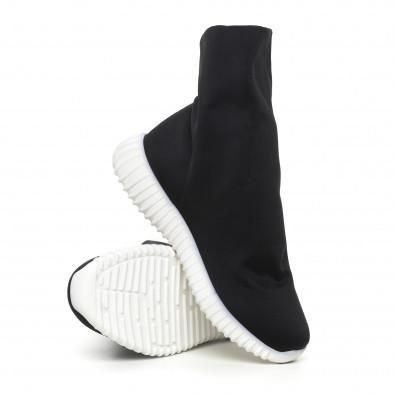 Дамски черни боти от неопрен тип чорап it130819-53 4