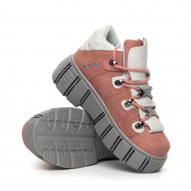 Дамски розови боти на платформа Trekking design it130819-72 4