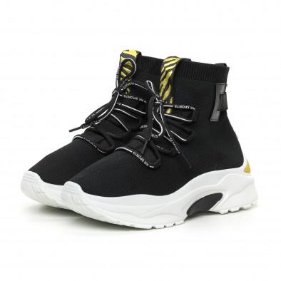 Черни дамски текстилни маратонки жълт акцент it130819-43 3