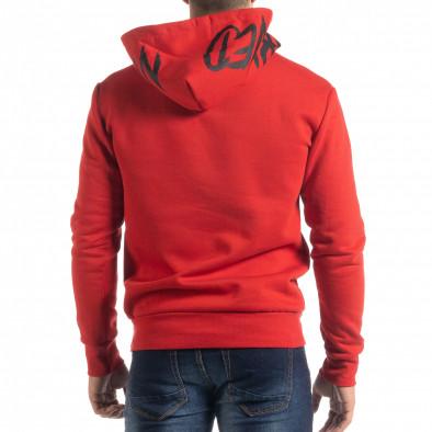 Червен ватиран мъжки суичър тип анорак it041019-49 4
