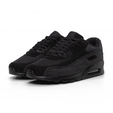 All black мъжки Air маратонки черен деним it240419-17 3