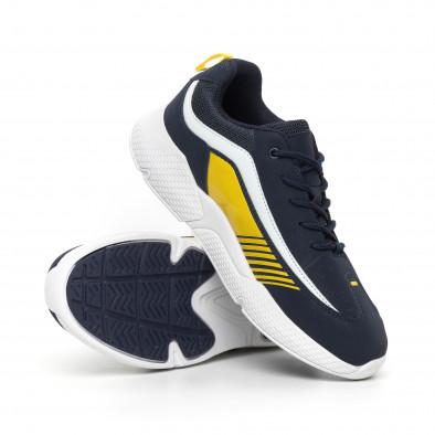Сини мъжки маратонки с лачени части it130819-20 4
