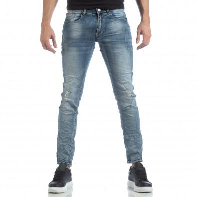 Slim fit мъжки сини дънки с прокъсвания it040219-11 2