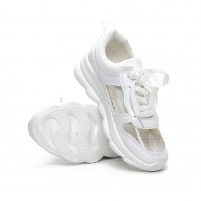 Бели дамски маратонки с прозрачни части it240419-55 4