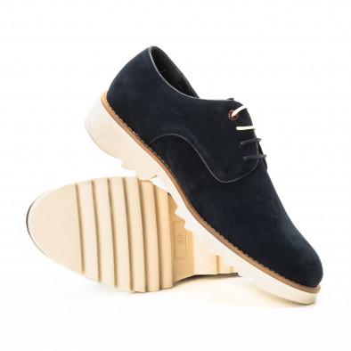 Casual мъжки обувки в син велур it221018-12 4