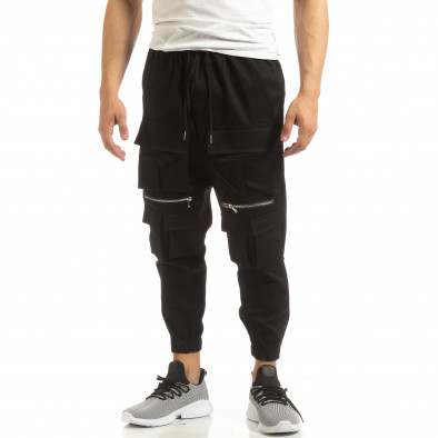 Cropped мъжки черен панталон с джобове it090519-20 2