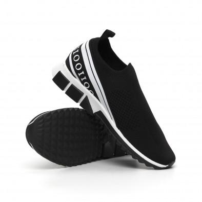 Slip-on черни мъжки маратонки бял кант it260919-6 5