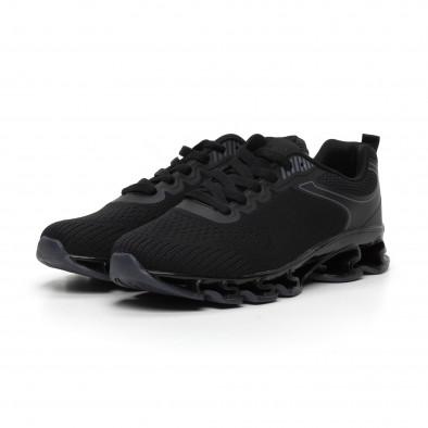 Мъжки черни маратонки с релефна подметка it260919-32 4