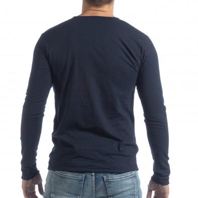 Мъжка блуза V-neck в тъмно синьо it040219-90 3
