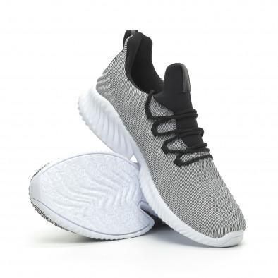 Мъжки ултралеки маратонки Wave дизайн черно и бяло it100519-5 4