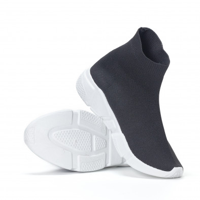 Дамски черни маратонки slip-on тип чорап it130819-52 4