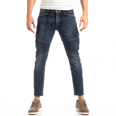 Рокерски мъжки Cargo Jeans в синьо it261018-11 3