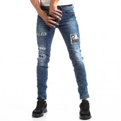 Мъжки сини Slim Jeans с ефектни кръпки it250918-15 3