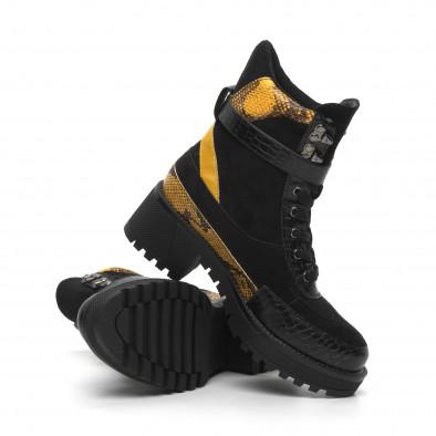 Дамски черни боти Snake в жълто it260919-82 3