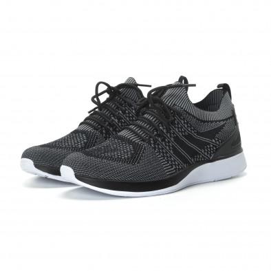 Меки мъжки маратонки плетени в сиво-черно it190219-3 3