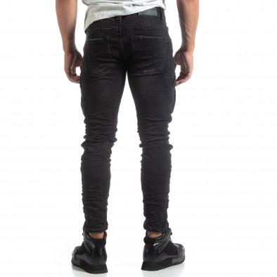 Мъжки черни Cargo Jeans рокерски стил it170819-53 4