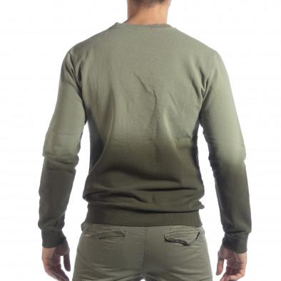 Мъжка зелена ватирана блуза с преливане it040219-91 4