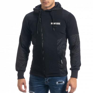 Мъжки черен суичър Slim fit с качулка it071119-67 2