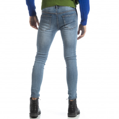 Мъжки дънки Skinny в синьо Stone washed it051218-2 3