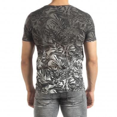 Мъжка сива тениска с преливане Leaves мотив it150419-108 3