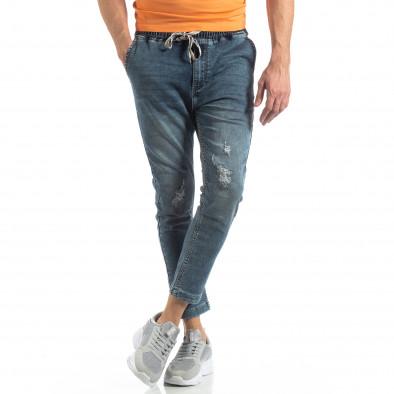 Мъжки сини дънки с ластик на кръста it210319-1 2