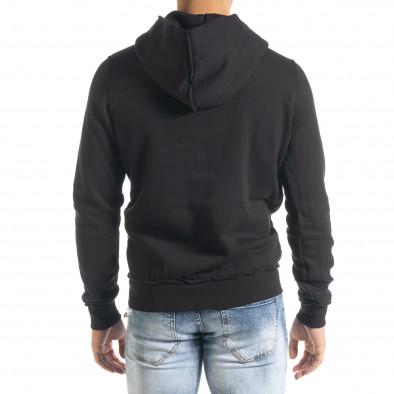 Ватиран черен суичър с обърнати шевове it080520-71 3
