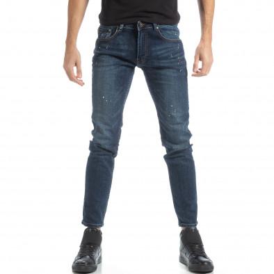 Мъжки сини дънки с пръски боя it051218-3 2