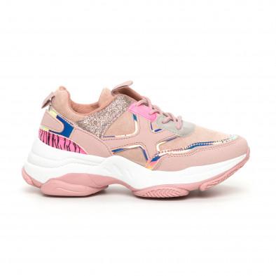 Chunky дамски розови маратонки с акценти MIX it130819-54 2