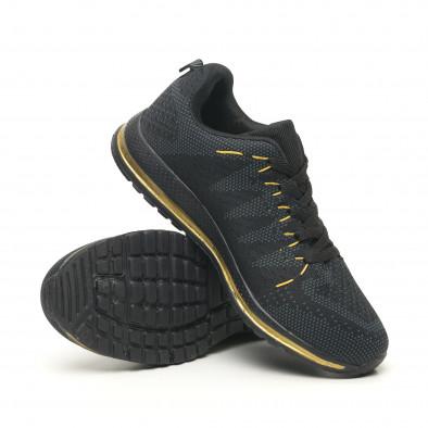 Плетени мъжки маратонки в черно и златисто it251019-5 5