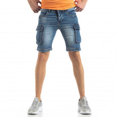 Карго къси мъжки дънки в синьо it210319-31 3