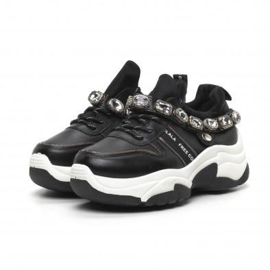 Черни дамски маратонки с камъни it260919-62 4