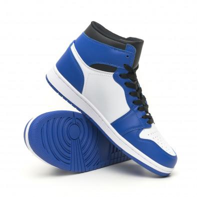 Високи мъжки кецове в синьо и бяло it251019-21 5