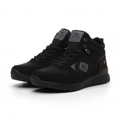 Черни мъжки спортни боти тип кецове it260919-45 4