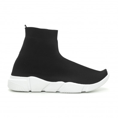 Мъжки черни slip-on маратонки чорап it150319-13 2