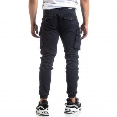 Син мъжки панталон с ципове на джобовете it170819-1 4