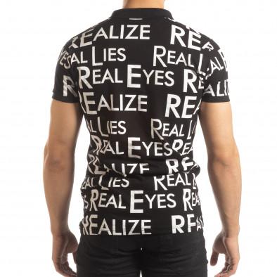 Черна мъжка тениска пике с надписи it150419-62 3
