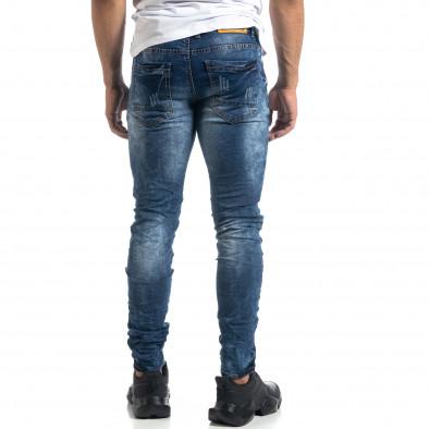 Сини мъжки дънки състарен ефект Slim fit it041019-33 4