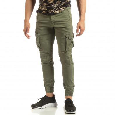 Мъжки зелен Cargo Jogger в рокерски стил it090519-18 3