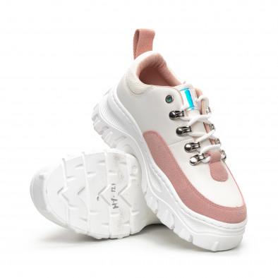 Ултрамодерни дамски маратонки в бяло и розово it240419-43 4