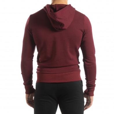 Basic мъжки памучен суичър в тъмно червено it150419-38 4