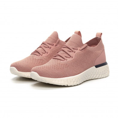 Ултралеки дамски розови маратонки тип чорап it240419-54 3