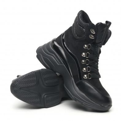 Черни дамски спортни боти с обемна подметка it281019-18 4